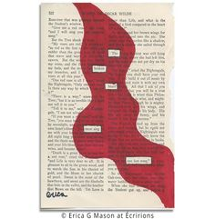 oscar wilde, blackout poetry, found poetry, book page art, poem, erica gerald mason