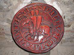 Reproduction d'un sceau des Templiers lors d'une exposition à Prague, République…