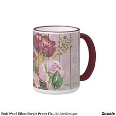 Pink Wood Effect Purple Peony Floral Bouquet Ringer Coffee Mug