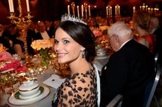 King Carl XVI Gustaf of Sweden and Queen Silvia, Crown Princess Victoria of Sweden and Prince Daniel, Prince Carl Philip and Princess Sofia, Princess Madeleine and Christopher O'Neill, Princess Christina attend the Nobel Prize Banquet 2015 at Concert Hall on December 10, 2015 in Stockholm, Sweden.... >
