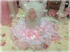 Shabby Pink and white Decorated pillar candle.that I made - thanks for your order sweet Jean xo Pink Crafts, Sweet Jeans, Fabric Boxes, Pillar Candles, Candle Holders, Flower Girl Dresses, Wedding Dresses, Lace, Pretty