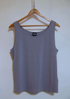 EILEEN FISHER Silk Sleeveless Gray Shirt Tank Top Sz L #EileenFisher #PullonStyle