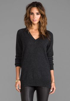 V-Neck Sweater in Charcoal