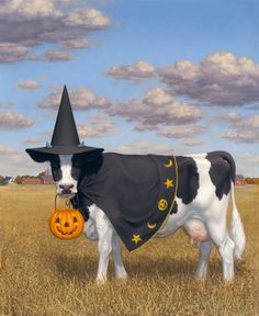 """""""Halloween Cow"""" by Tristan Elwell Happy - Made me laugh Halloween Art, Holidays Halloween, Vintage Halloween, Halloween Tricks, Halloween Witches, Samhain, Cow Pictures, School Of Visual Arts, Cow Painting"""