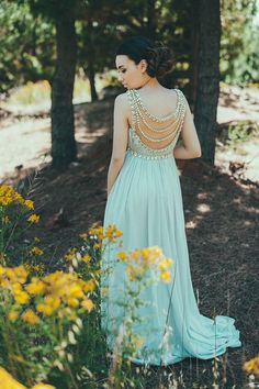 Sky blue bridesmaid dress with amazing back detail