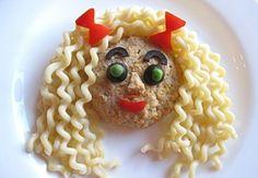 Food art girl, pasta