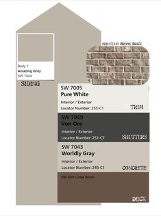 Neutral exterior paint colors ready to sell. Sherman Williams paint: amazing grey, pure white, iron ore, worldly grey, and lodge brown deck stain. House Exterior Color Schemes, White Exterior Houses, Grey Exterior, Exterior Paint Colors For House, Paint Colors For Home, Exterior Colors, Stained Brick Exterior, Stain Brick, Painted Brick Exteriors