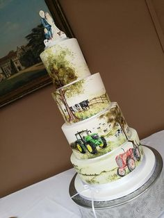 Country hand painted wedding cake by Lotties Little Cake co