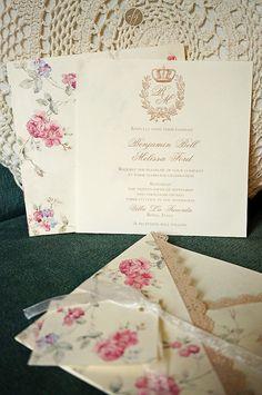 Romantic shabby wedding invitation - Invito romantico e shabby