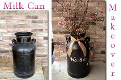 Milk can makeover. Spray paint it and then easily add your house number, last name, or a greeting!
