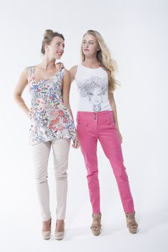 High waisted trousers with printed swing chiffon vest and Ambri face print vest