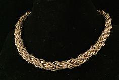 Early Monet Braided Rich Gold Tone Rope Choker JP020 #Monet #Choker