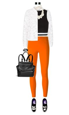 """""""Bright Leggings With Black And White"""" by ittie-kittie ❤ liked on Polyvore featuring Maje, adidas, New Look, Givenchy, Georgini, Paul Smith, Summer, summerstyle, summerfashion and brightleggings"""
