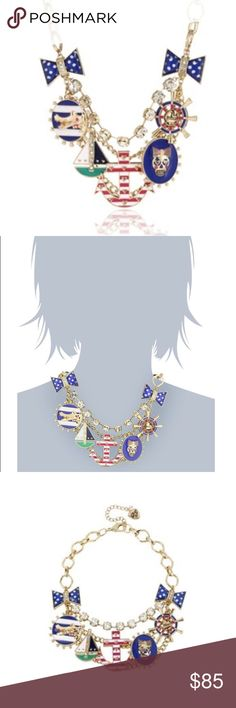 """Betsey Johnson """"Ivy League"""" Anchor Charm Necklace Gold tone necklace chain with crystal cup chain accent, striped anchor with hearts, sailboat, alligator medallion, skull oval medallion, ship steering wheel, polka dot bows. Betsey Johnson Jewelry Necklaces"""