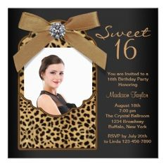 Black Leopard Photo Sweet 16 Birthday Party Custom Invitation
