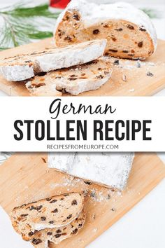 Looking for an authentic German Stollen recipe? This yeasty Christmas bread - packed with candied citrus peel and other flavors - is topped with butter and powdered sugar! #germanrecipes #holidayrecipes Dutch Recipes, German Recipes, Baking Recipes, Dessert Recipes, Bread Recipes, Candied Lemon Peel, Candied Lemons, Candied Orange Peel, Christmas Bread