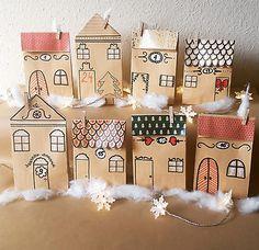 Adventskalender Häuser, Stadt Papiertüten, Idyllische und Dorf