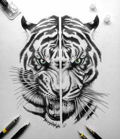 Tiger Head Tattoo, Big Cat Tattoo, Lion Head Tattoos, Tiger Tattoo Design, Sketch Tattoo Design, Dark Tattoo, Grey Tattoo, Tattoo Sketches, Body Art Tattoos