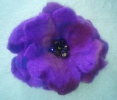 New Listing Started Handmade Wet Felted Flower Brooch Corsage Violet 4 inches £1.99
