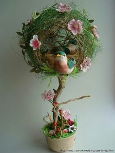 Holiday decorations easter center pieces Ideas for 2019 Fall Crafts, Easter Crafts, Diy And Crafts, Topiary Centerpieces, How To Preserve Flowers, Paperclay, Vintage Easter, Flower Crafts, Flower Vases
