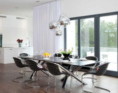 Metall Sessel Mit Schwarzer Sitzfläche Und Rechteckiger Esstisch Esszimmer  Modern, Esszimmer Möbel, Moderne Esszimmer