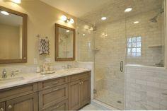 Craftsman Master Bathroom with frameless showerdoor, Square Recessed Panel - Veneer(AC8B6) Square Husk Suede, Flush