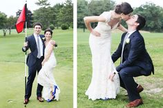 Newlywed Couples photo-session | Bride and Groom on the Golf-course | Fun and Playful Natural Poses | New York Wedding Photographer - Anna Rozenblat | www.AnnasWeddings.com | Inn at Longshore Wedding in Westport, CT