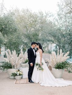Chic black + white Ace Hotel Palm Springs wedding - 100 Layer Cake Hotel Wedding, Destination Wedding, Wedding Planning, Bhldn Wedding Gowns, White Bridesmaid Dresses, 100 Layer Cake, Ace Hotel, Pampas Grass, Palm Springs