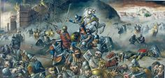 """Giannis Nikou, """"The last moments of Const. Paleologos, emperor of Byzantium"""" Central painting of the trilogy """"Constantinos Paleologos, the last Byzantine Emperor"""", 410X200cm, oil on canvas, 2001"""