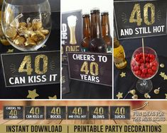 40th Birthday Party Decor Cheers to 40 Years Birthday | Etsy Diy 40th Birthday Decorations, 40th Birthday Party For Women, 40th Birthday Themes, 40th Birthday Invitations, Birthday Party Tables, 40th Birthday Ideas For Men Husband, Beer Party Decorations, 30th Party, Cake Party