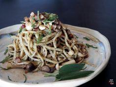 Espaguetis frescos con panceta ahumada y setas - Persucarhipa