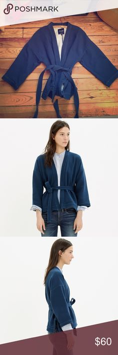Madewell Kimono Swing Jacket Inspired by a vintage kimono, this swingy wrap jacket is made of a special bonded fabric that is textured on the outside and tee-soft on the inside. Cool, cozy and cropped, it's made to be paired with high-waisted jeans or skirts. Madewell Jackets & Coats Blazers