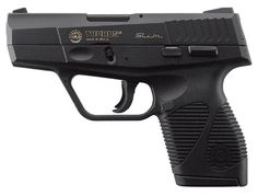 Taurus 709 Slim in 9mm. I went to the gun shop to pick up one of these on sale, I love the way they feel in my hand, but I ended up not getting it because I found it a pain to tear down.