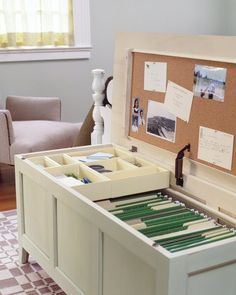 DIY Mini Office in a Chest: Transform a traditional bedroom chest into a horizontal filing cabinet, bulletin board and more.  -tkz