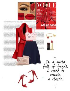 """Red + Navy"" by fashionstudiolondon ❤ liked on Polyvore featuring Oris, WithChic, Kenzo, Kevyn Aucoin, Wild Diva, STELLA McCARTNEY and Yves Saint Laurent"