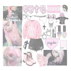 """Pastel Pink/Goth"" by beadances ❤ liked on Polyvore featuring Dr. Martens, INDIE HAIR, Lord & Berry, David Yurman and H&M"