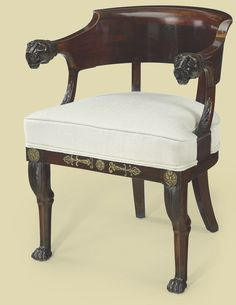 c1810 AN EMPIRE MAHOGANY FAUTEUIL DE BUREAU CIRCA 1810, MOUNTED LATER Price realised USD 5,000
