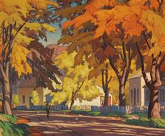 "Casson painting sells for record price - The Globe and Mail - ""Street in Glen Williams Emily Carr, Canadian Painters, Canadian Artists, Group Of Seven Art, Tom Thomson Paintings, Ontario, Satirical Illustrations, 1 Gif, Landscape Paintings"