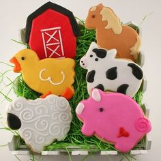 Sweet, simple & totally adorable - Farm Animal Cookies, Cow, Pig, Sheep, Duck, Horse, Barn (24 favors, bagged and bowed) (for $60)