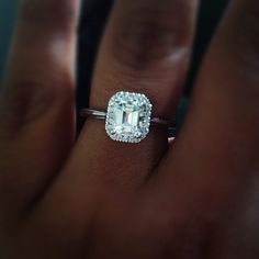 No diamonds around the band and I could even do without the diamonds around the center stone! Just one emerald cut diamond. Beautiful and elegant. Wedding Engagement, Wedding Bands, Engagement Rings, Wedding Ring, Perfect Wedding, Dream Wedding, Wedding Day, Elle Magazine, Dream Ring