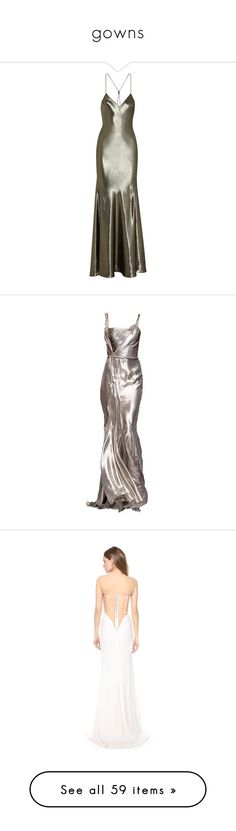 """""""gowns"""" by franceslily ❤ liked on Polyvore featuring dresses, gowns, long dresses, maxi dress, topshop, silver, maxi dresses, long brown dress, metallic gown and bias cut dress"""