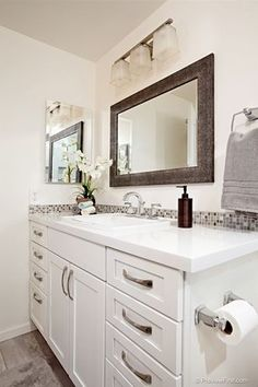 Transitional 3/4 Bathroom with Carpet, Drop-In Sink, Flush, European Cabinets, Flat panel cabinets, Vanwyke Cabinets