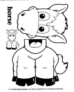 Horse marionette >> printable brown paper bag by albe / Farm Animal Crafts, Farm Crafts, Horse Crafts, Farm Animals, Paper Bag Puppets, Hand Puppets, Craft Activities, Preschool Crafts, Preschool Christmas
