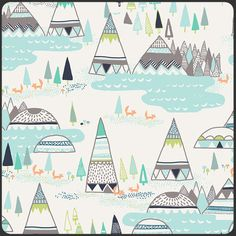 Indian Summer - Woodland in Pine (Tee Pees in Aqua) - Art Gallery Fabrics - 1 yard, Add'l Avail - IS 50010