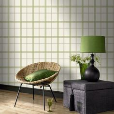 Green Plaid Wallpaper - Plaid Wall Coverings by Graham  Brown