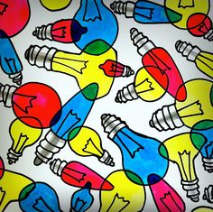 different kinds of bulbs drawing them with a black permanent marker. Each bulb is superimposed on another to have some areas where the colors overlap. Using markers first do yellow areas, then red, and finally blue. Overlapping creates secondary colors. Gray line on the metal screw area.