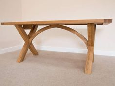 Provence 8 Seater Cross Leg Fixed Oak Dining Table 1.8m Long by Top Furniture