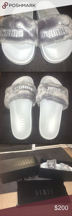 Fenty Rihanna Puma Slides Worn only a few times and can barely tell. Great condition and comfortable. I am 5.5-6 but the run big so can also fit a 6.5-7. They are also a U.K. Size 3 Puma Shoes Slippers