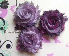 Shabby Chic Fabric flowers - Glitter Grunge Purples $4.75