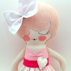 """Primrose Special Edition 18"""" cloth doll, rag doll, customizable, pink with bow"""